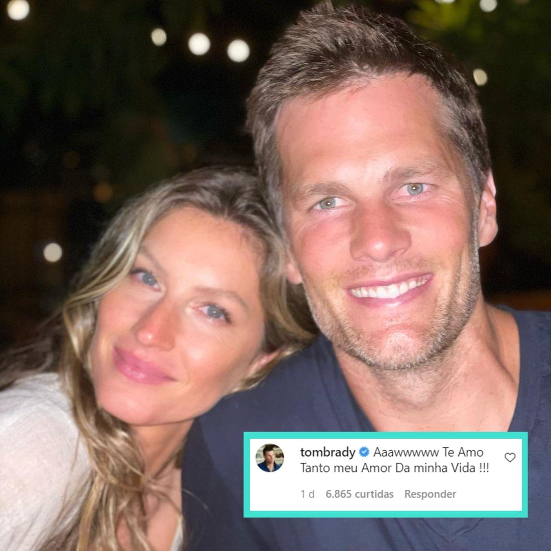 Foto do casal com o comentário.