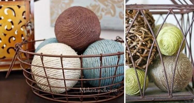 Montagem com duas fotos de cesta com bolas decoradas