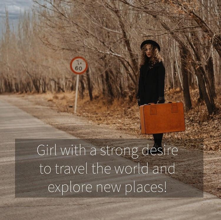 Foto de menina viajando com frase adaptada