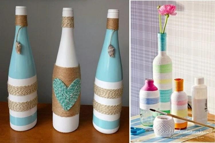 Fonte: Pinterest Montagem com duas fotos de garrafas decoradas