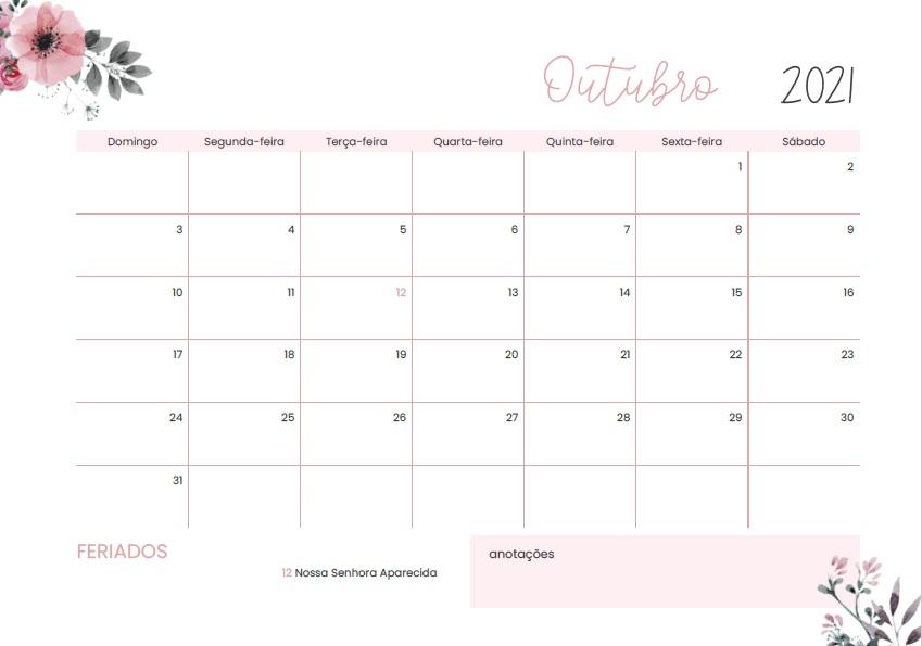 Foto de calendário de outubro de 2021 do blog Quero me Formar