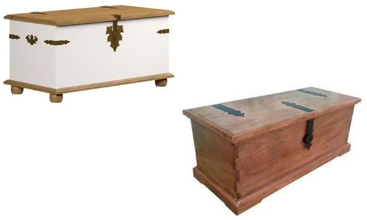 Montagem com fotos de dois baús de madeira