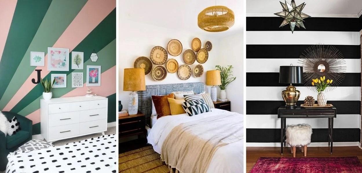 Montagem com 3 opções de parede decorada