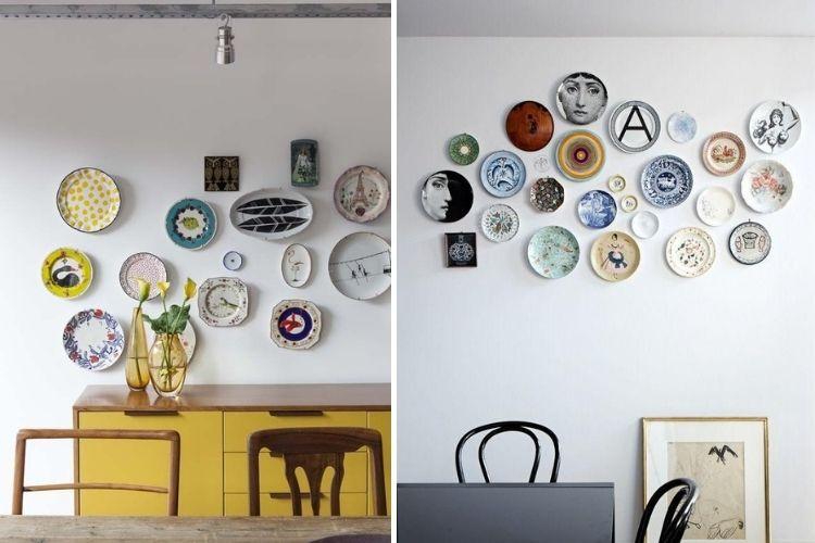 Montagem com duas fotos de composição de pratos