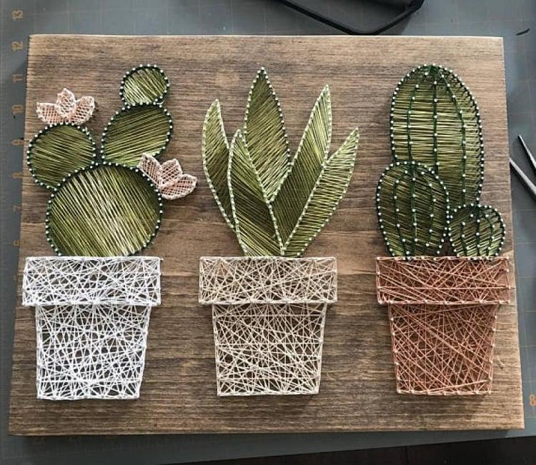 Foto de string art de vasos de cacto