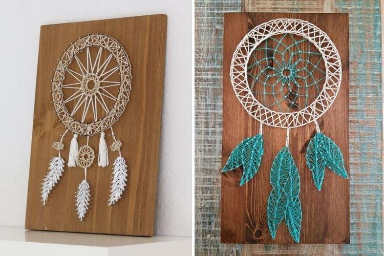 Montagem com duas fotos de string art de apanhador de sonhos