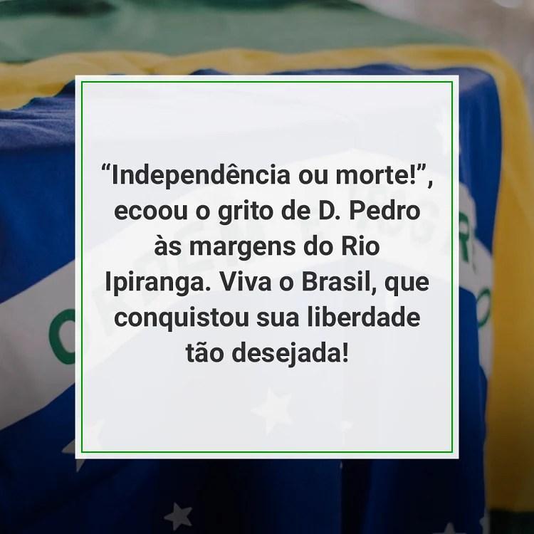 foto de bandeira do Brasil com frase de 7 de setembro