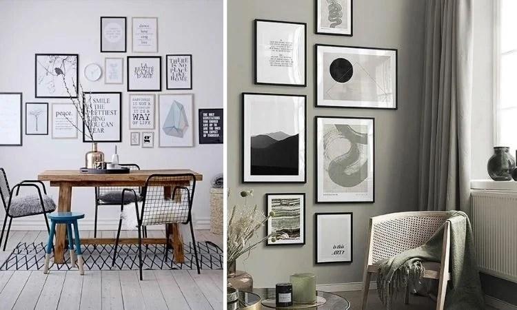 Duas fotos de parede decorada com composição de quadros