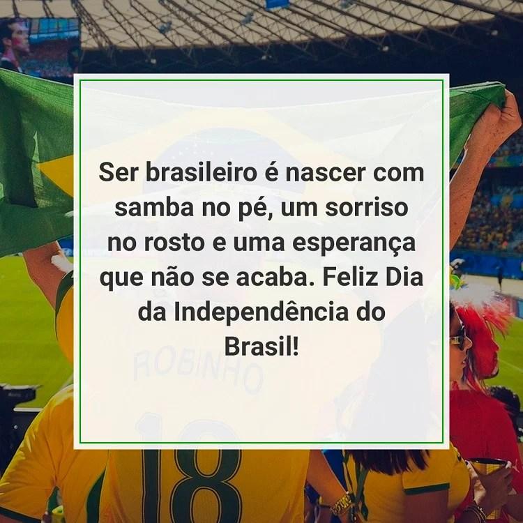 frases de homenagem ao Brasil em foto de torcida brasileira