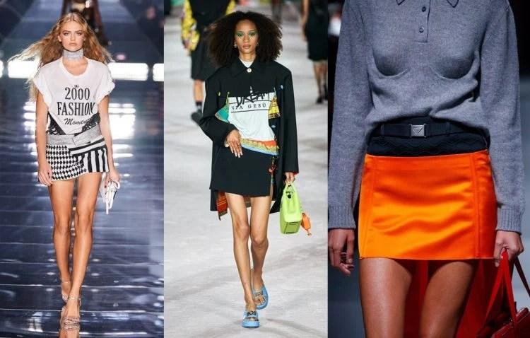 Minissaia semana de Moda de Milão Primavera 22. Dolce & Gabbana minissaia bordada, Versace em crepe de seda e Prada em cetim de seda