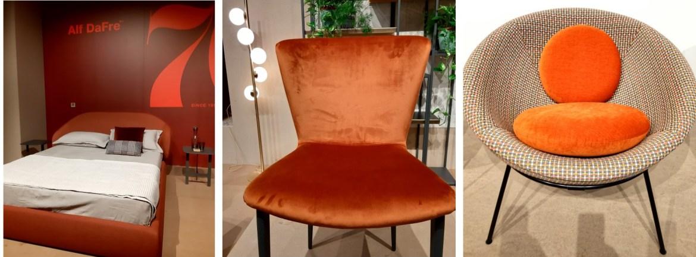 Imagem de cama, cadeiras em cor laranja que foi destaque do salão de móveis de Milão 2021
