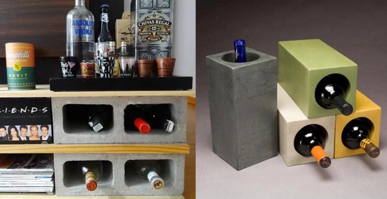 Foto de adegas feitas em concreto, uma serve de base para uma estante em madeira a outra uma composição de tijolos pintados