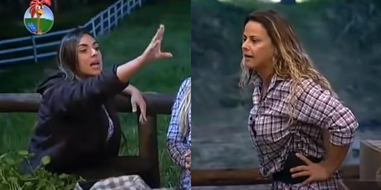 """A Fazenda: Viviane Araújo e Nicole Bahls brigaram feio e a ex-panicat até soltou um """"fala com a minha mão""""."""