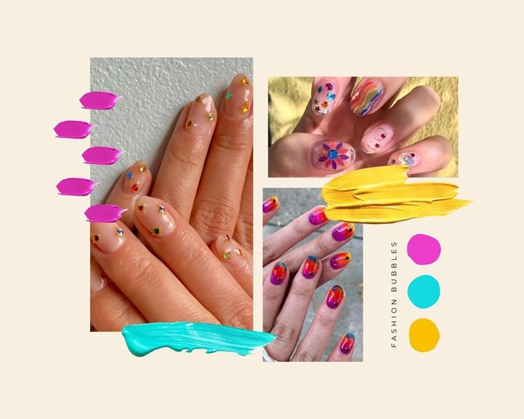 Foto de decoração de manicure com pedrinhas.