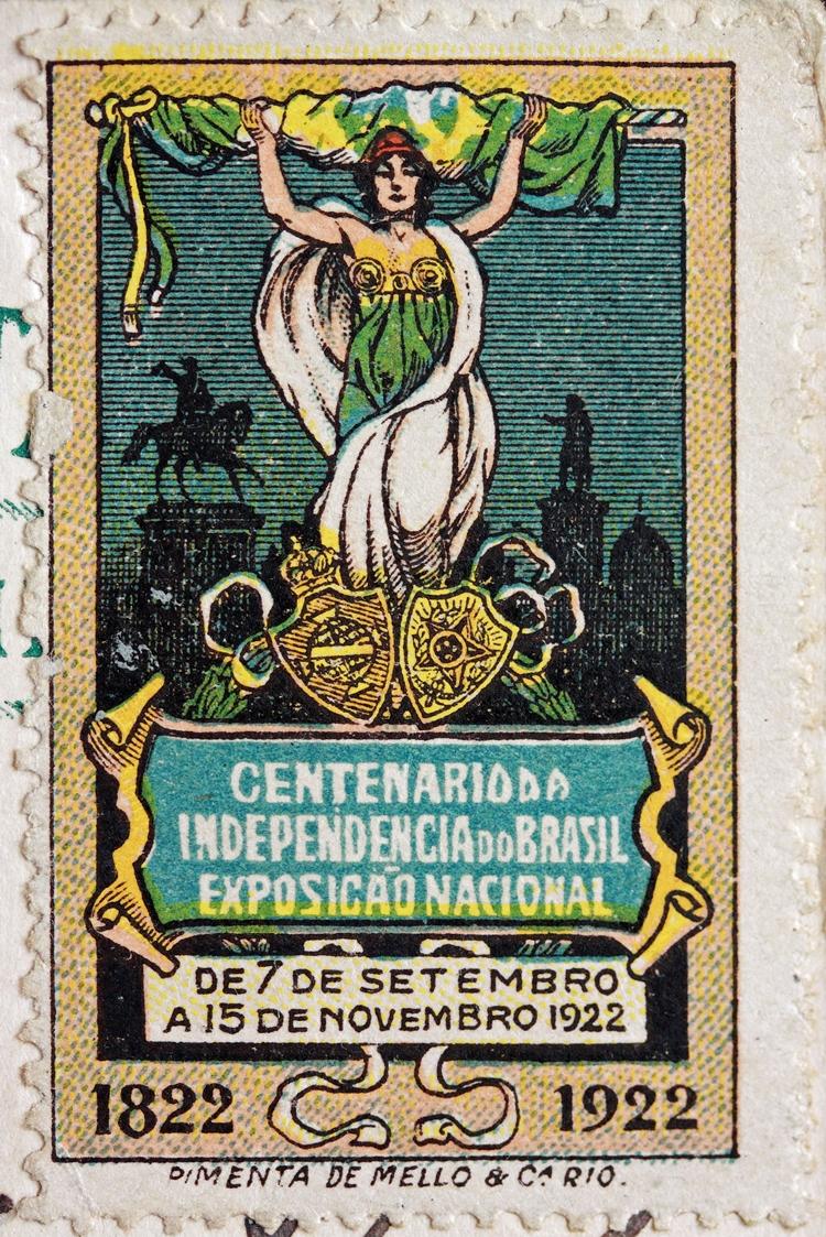 Foto do selo da Expo Rio 1922.