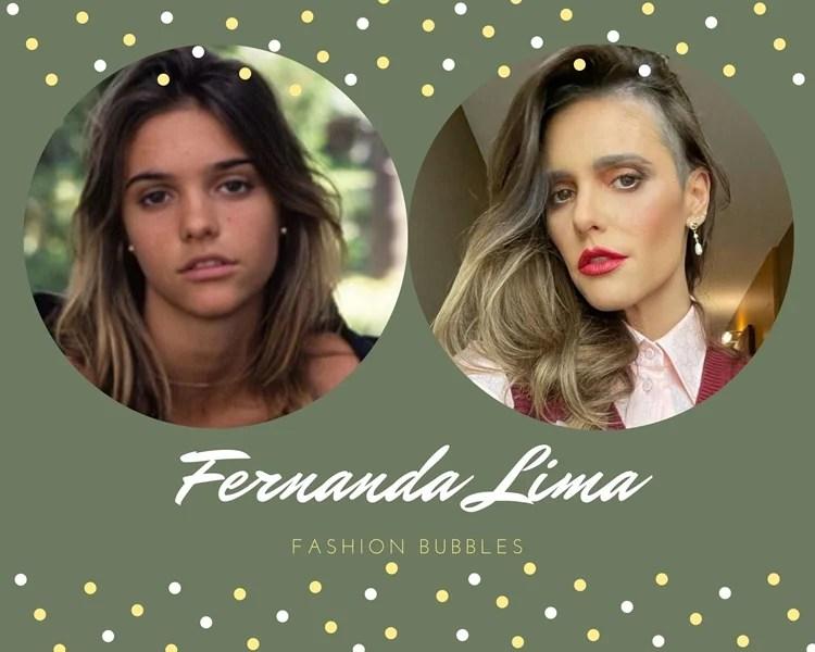 Foto de Fernanda Lima quando nova e atualmente.