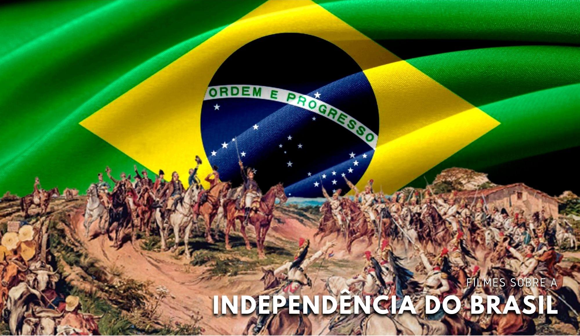 Foto da bandeira do Brasil, montagem com imagem representativa da época da Independência.