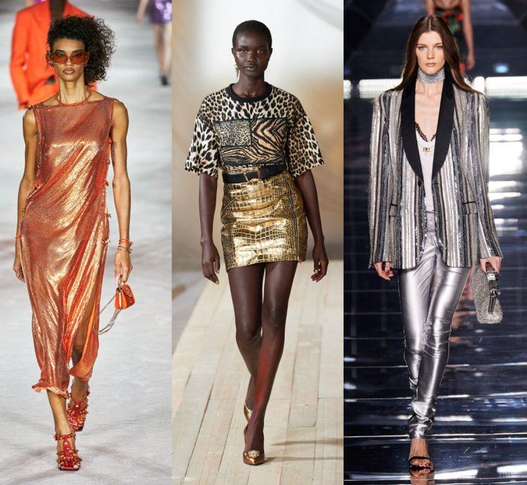 Tecido 3 fotos demostrando o tecido Lamê com brilho vestido Versace, minissaia Roberto Cavalli calçca Dolce & Gabbana.