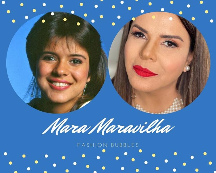 Foto de Mara Maravilha, uma das apresentadoras brasileiras, quando nova e atualmente.