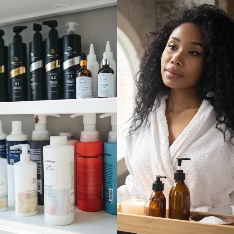 Foto de produtos para cabelos.