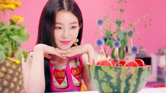 Red Velvet Irene Pink Amore Can dress in the 'Power Up' MV