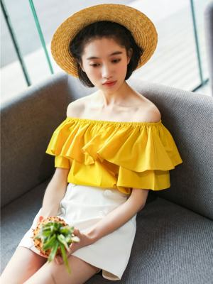 Seulgi Yellow Bardot Top Inspiration (4)