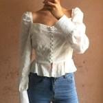 White Square Collar Blouse | Jennie – BlackPink
