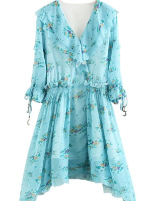 Yeri Light Blue Floral Ruffle Dress (2)