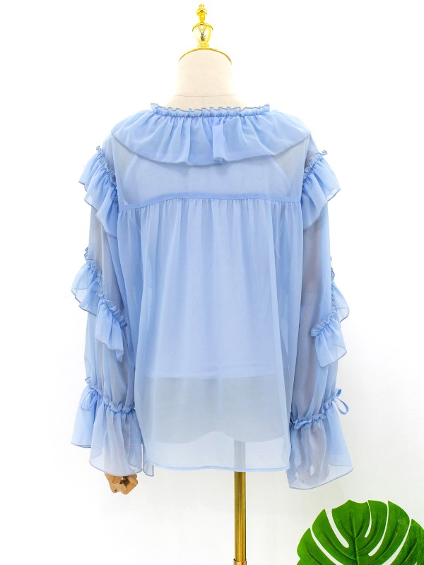 Blue Long Sleeve Ruffle Blouse | Irene – Red Velvet