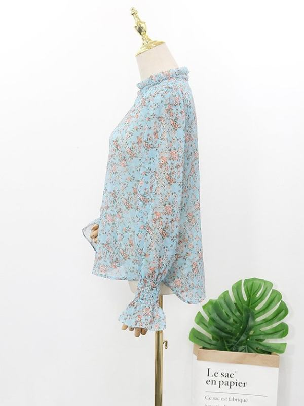 Blue Floral Pleated Collar Blouse | Hyuna