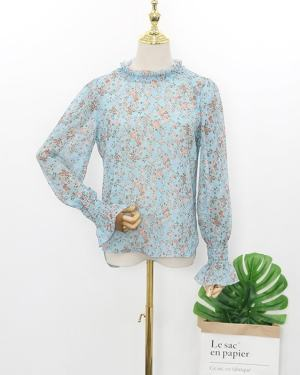 Hyuna Blue Floral Pleated Collar Blouse (3)