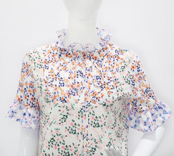 Colorful Floral High Collar Dress   Hyuna