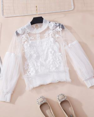 Jisoo See-through Lace Blouse (1)