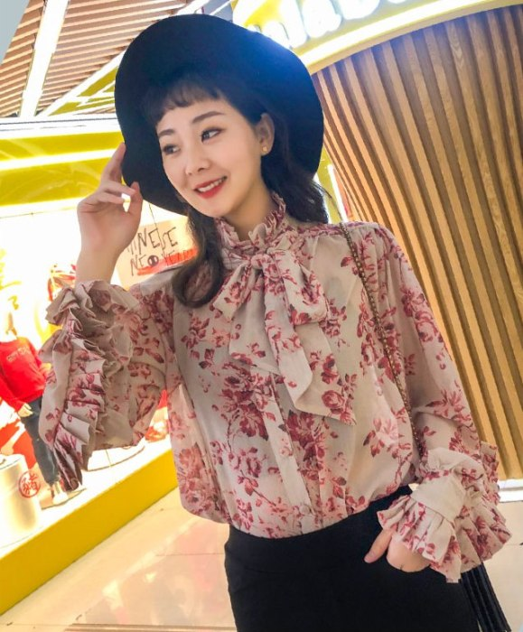 Floral Folded Long Sleeved Blouse | Mina – Twice