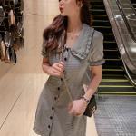 Plaid Doll Collar Grey Dress   Yeri – Red Velvet