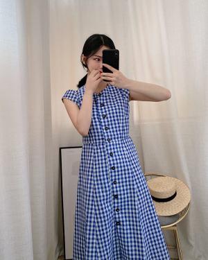 Jennie Blue Plaid Long Dress (1)
