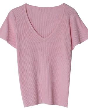 Jennie Pink V-Neck Shirt (1)