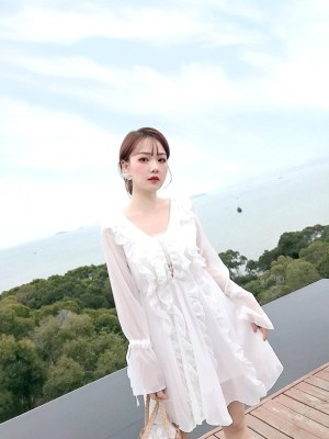 Jeongyeon Front Lace Tie Ruffles Dress (5)