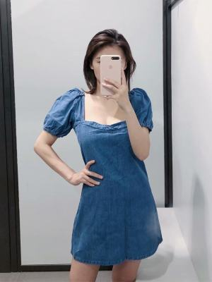 Jihyo Balloon Sleeve Denim Dress (9)