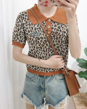 Jisoo Leopard Print Polo Collared Top (5)