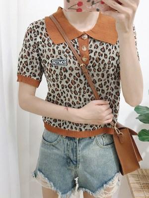 Jisoo Leopard Print Polo Collared Top (5)
