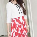 Ruffled Doll Collar Ribbon Blouse | Joy – Red Velvet