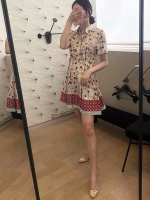 Momo Floral Print Collared Shirt Dress (3)