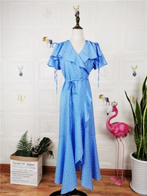 Rose Blue Dotted Assymetric Wrap Dress (2)
