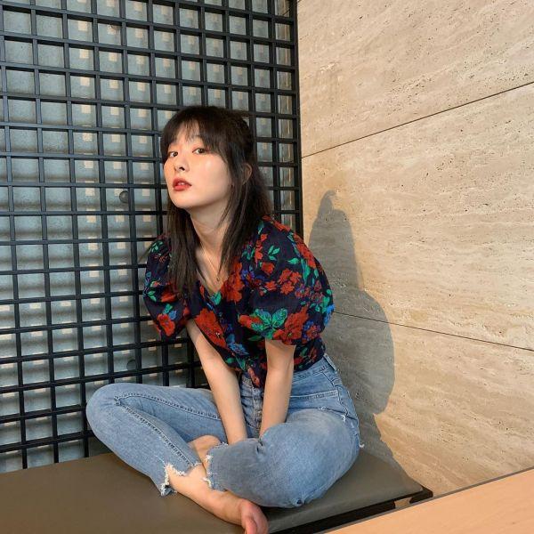 Floral Lantern Sleeve Shirt   Seulgi -Red Velvet