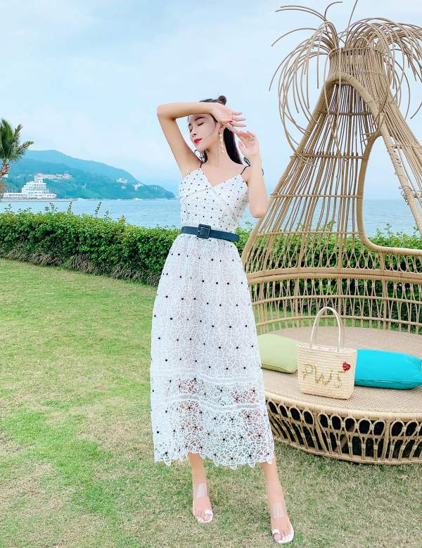 Sling Lace Embroidery Dress | Chaeyoung – Twice