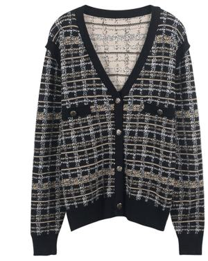 Jennie Retro Plaid Knit Cardigan (4)