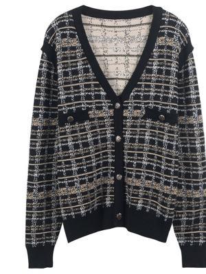 Jennie Retro Plaid Knit Cardigan (4)