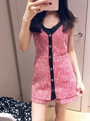 Jisoo Red Sling Knit Jumpsuit Dress (1)