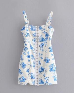 Lisa Front Hooks Blue Print Strap Dress (7)